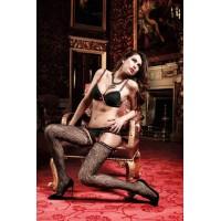 Have Fun Princess Чулки черные с нежным узором и розовыми сатиновыми ленточками на манжеткеOS (42