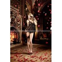 Dolce Vita Пеньюар черный из кружева с роскошной цветочной вышивкой