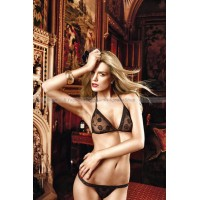Dolce Vita Комплект бикини черныйс роскошной цветочной вышивкой и кружевной кромкой