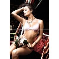 Dolce Vita Бюстгальтер розовый с светлосерыми кружевными краями и косточками;  34D