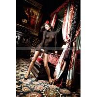 Dolce Vita Миниплатье черное кружевное платьице  с воротничкомстоечкой и длинными рукавами