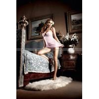 Dolce Vita Платьице розовое с кружевными аппликациями, косточками и мягкими чашечками; ML