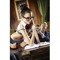 Игровой костюм СЕКРЕТАРША СЕКСИ: топ, миниюбка, воротничок и галстук