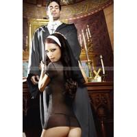 Игровой костюм ОЧАРОВАТЕЛЬНАЯ МОНАШКА: миниплатье и головной убор  D (4854)