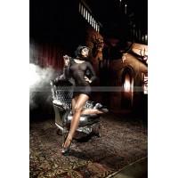 Deeper in Hell Миниплатье черное  в сеточку с длинными рукавами и шнуровкой сзади