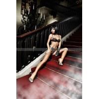 Deeper in Hell Комплект бикини черныйс косточками, розовыми контрастными швами и бантиками; ML