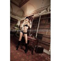 Agent Of Love Комплект бикини черныйс  трусиками, косточками, белыми кружевными деталями и бантиком;