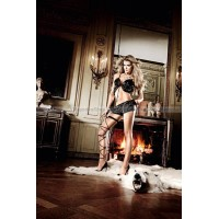 Beauty Inside The Beast Пеньюар черный сатиновый с передними застежками, кружевными кромками