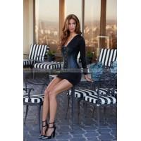 Корсет Essential Satin & Leather Corset, черный, рр L
