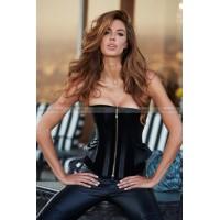 Корсет Suede and Leather Corset, черный, рр L