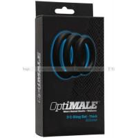 Набор широких эрекционных колец OPTIMALE 3 CRing Set Thick черный