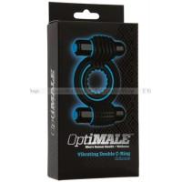 Эрекционное кольцо со стимуляторами OPTIMALE Vibrating Double CRing  с вибрацией черное