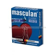 Masculan Classic 2,  3 шт *16.  С пупырышками