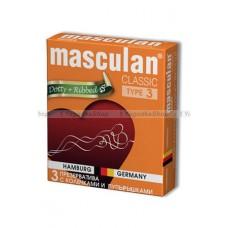 Masculan Classic 3 , 3 шт *16.  С колечками и пупырышками