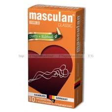 Masculan Classic 3 , 10 шт *10. С колечками и пупырышками