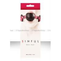 Кляп SINFUL BALL GAG виниловый розовый
