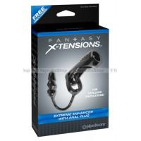 Насадка стимулирующая Extreme Enhancer with Anal Plug с кольцом на мошонку с анальной пробкой черная