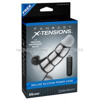 Насадка стимулирующая Deluxe Silicone Power Cage с кольцом на мошонку черная с вибрацией