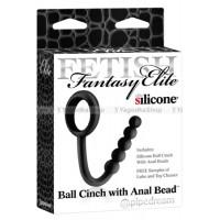 Утяжка Fetish Fantasy Elite Ball Cinch with Anal Bead на машонку с анальной цепочкой черная