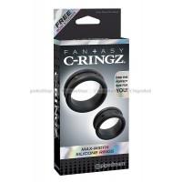 Набор из 2х эрекционных колец MaxWidth Silicone Rings черный