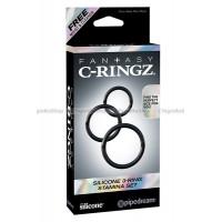 Набор из 3х эрекционных колец Silicone 3Ring Stamina Set черные