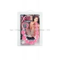 Анальная цепочка X10 BEADS розовая