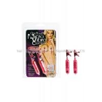 Зажимы на соски One Touch Micro Vibro Clamps с вибрирующими подвесками розовые